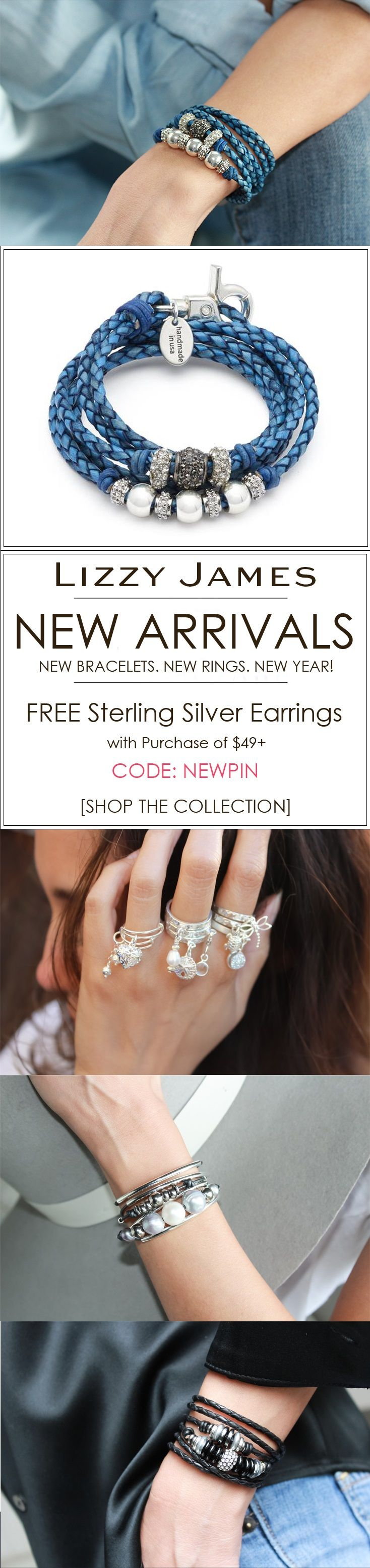 New Bracelets. New Rings. New Year! FREE Sterling Silver Earrings + FREE Shipping for all 1st time buyers with coupon code NEWPIN (min purchase of $49+).  Let Lizzy James Jewelry help you stay in style in the New Year! Featuring braided leather wrap bracelets, necklaces and sterling silver rings. Our designs fit all wrist sizes from petite to plus size.  Proud to be made in the USA!  #lizzyjames