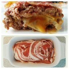 Heerlijk gevuld gehakt met cheddar en ui. Je kan ook champignons en augurkjes toevoegen. Dit recept is geschikt voor airfryer en oven!