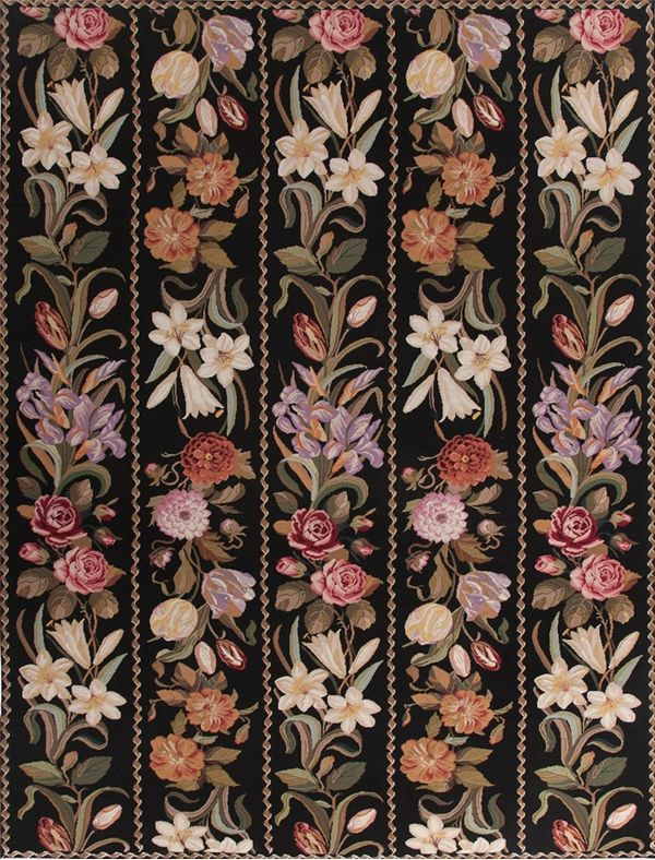 Garden Trellis Needlepoint Rug Is Handmade In The Style Of 19th Century Berlin Patterns Por