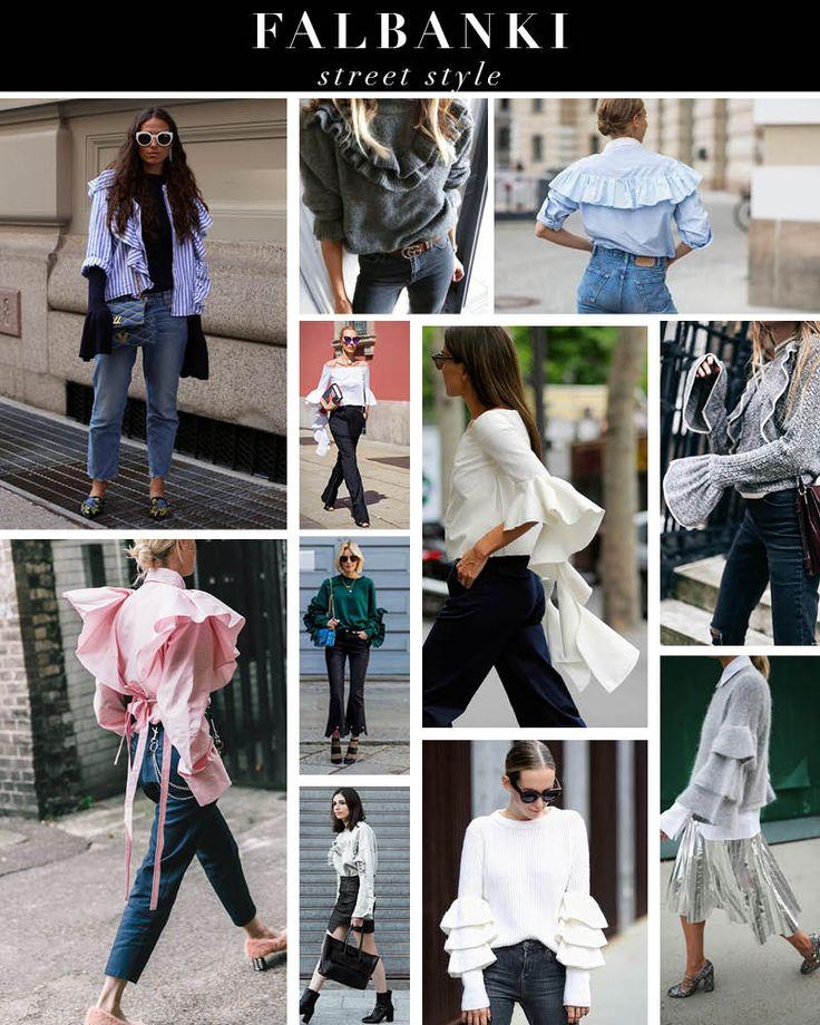 Trend falbanki - inspiracje stylizacje - street style