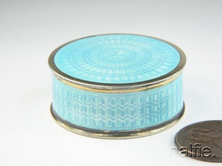 ANTIQUE NORWEGIAN SILVER BLUE ENAMEL PILL BOX by MARIUS HAMMER c1900