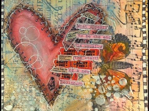 Mixed Media Process Series-28 Page Mini Art Journal Page #4 - Autumn Leaves Used - YouTube
