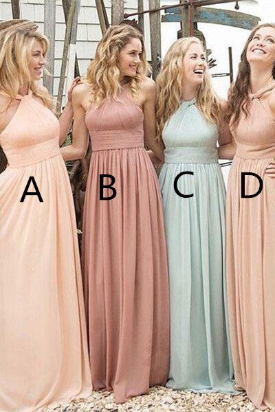 Elegant Simple Long Chiffon Bridesmaid Dresses,Halter A-line Simple