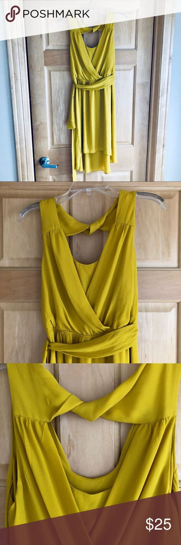 Express High-Low Twisted Back Dress Gorgeous, never worn mustard yellow twisted …