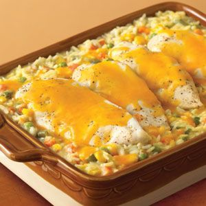 Yummy!!!! Campbell's Cheesy Chicken and Rice Casserole