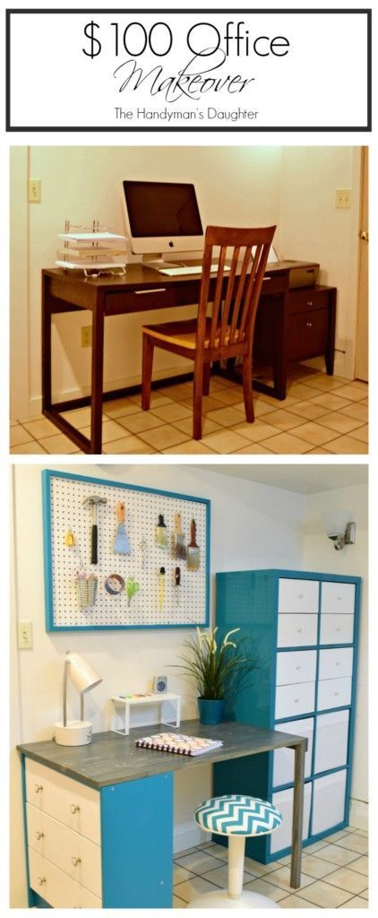 Believe it or not, this office makeover cost less than $100 to complete! With a little creativity and lots of scrap wood, I was able to transform the space on a tight budget. - The Handyman's Daughter