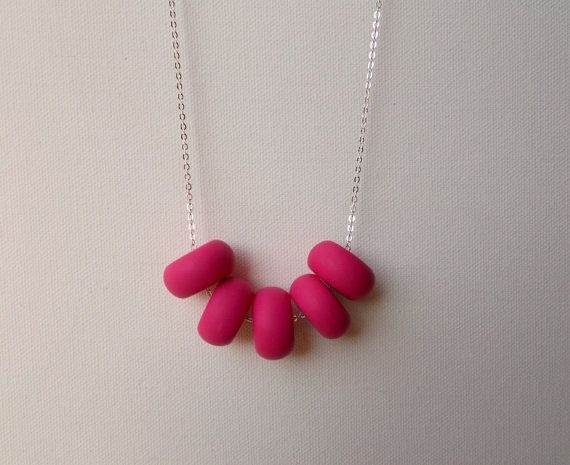 Handcrafted polymer clay necklace in Raspberry Jam by craft & folk https://www.etsy.com/ie/listing/219488152/raspberry-jam-handmade-polymer-clay?ref=related-0