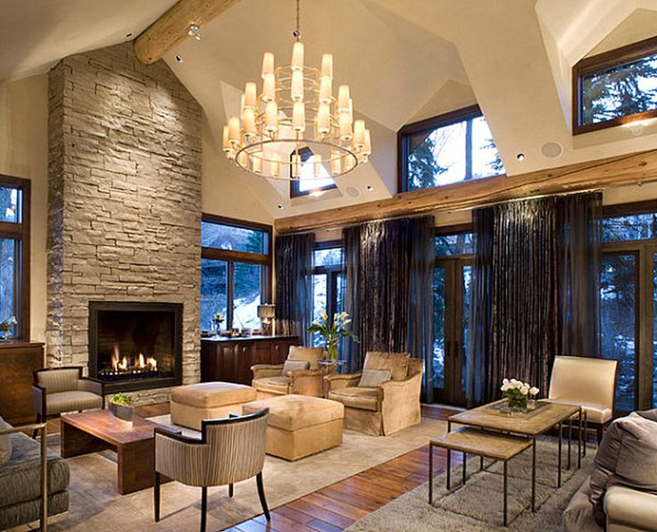 Exquisite Family Room Design With Stone Around Fireplace And Unique Pendant  Light Ideas Also Using Curtains For Glass Window Decoration