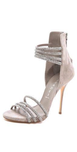 Casadei Suede Multi Strap Sandals in grey $1,600 #Shoes #glittering #Heels