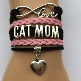 Infinity Love Cat Mom Heart Bracelet