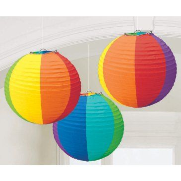 Rainbow+Round+Paper+Lanterns Would be good for Baby First TV party