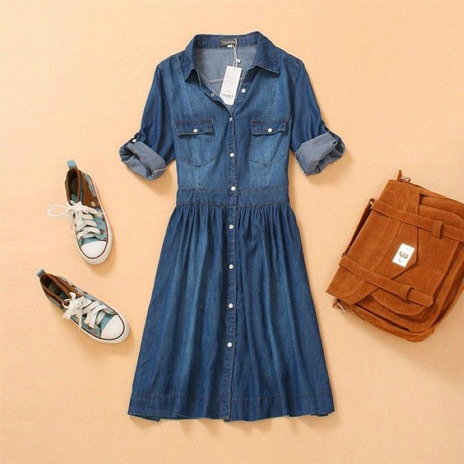4ebc2bdeed Size 10...I WANT I WANT Oversize Retro Half Sleeve Denim Dress Denim Skirt