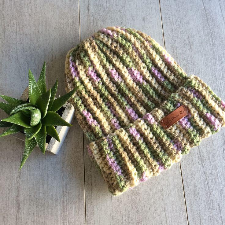 Messy bun hat, crochet hat, crochet beanie, multi colour hat, bun hat, messy bun, wool hat. by LovelyByInga on Etsy