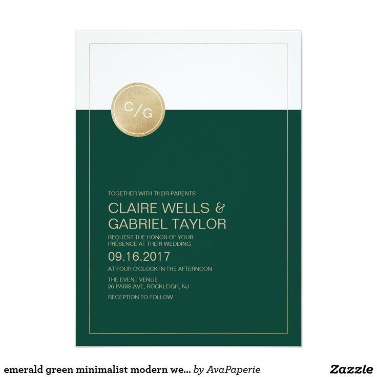 zazzle wedding invitations promo code%0A emerald green minimalist modern wedding invitation