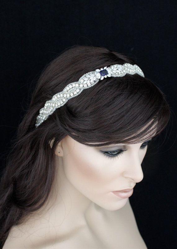 Iets blauw bloem hoofdband bruids hoofdband vintage door GlamHouse