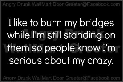 I like to burn my bridges while I'm still standing on them so that people know I'm serious about my crazy.