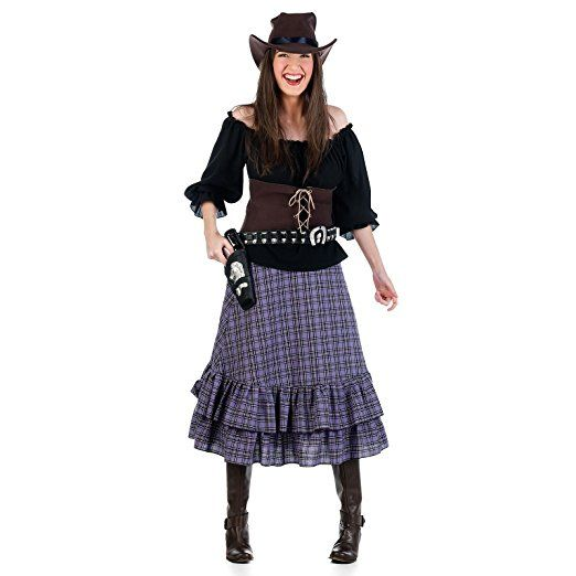 Cowboy Cowgirl Wilder Westen Kostüm Damen 4tlg. Bluse, Rock, Mieder, Hut - Mottoparty karneval kostüm gruppe kostüm karneval verkleidung fasching basteln faschingskostüm bekleidung mode