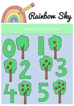 ** Free Download** Apple trees clipart to help with counting up to 5. Perfect to use for creating worksheets or activity cards.  With a total of 12 pieces in the set it includes: •Numbers 0 - 5  •Apples tree withs 0 - 5 apples All .PNG files saved at 300 dpi for clear printing, with transparent backgrounds. For personal or commercial use ~ Rainbow Sky Creations ~