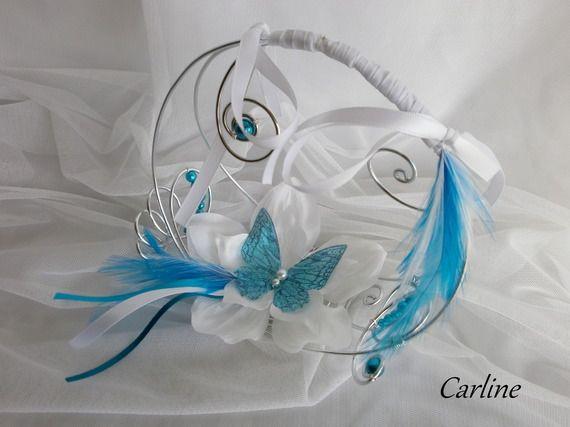 Porte Alliance Original Turquoise et Blanc Panier Fleurs Papillon rubans aluminium plumes