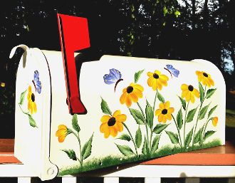 hand painted mailboxes with black eyed susans                                                                                                                                                                                 More