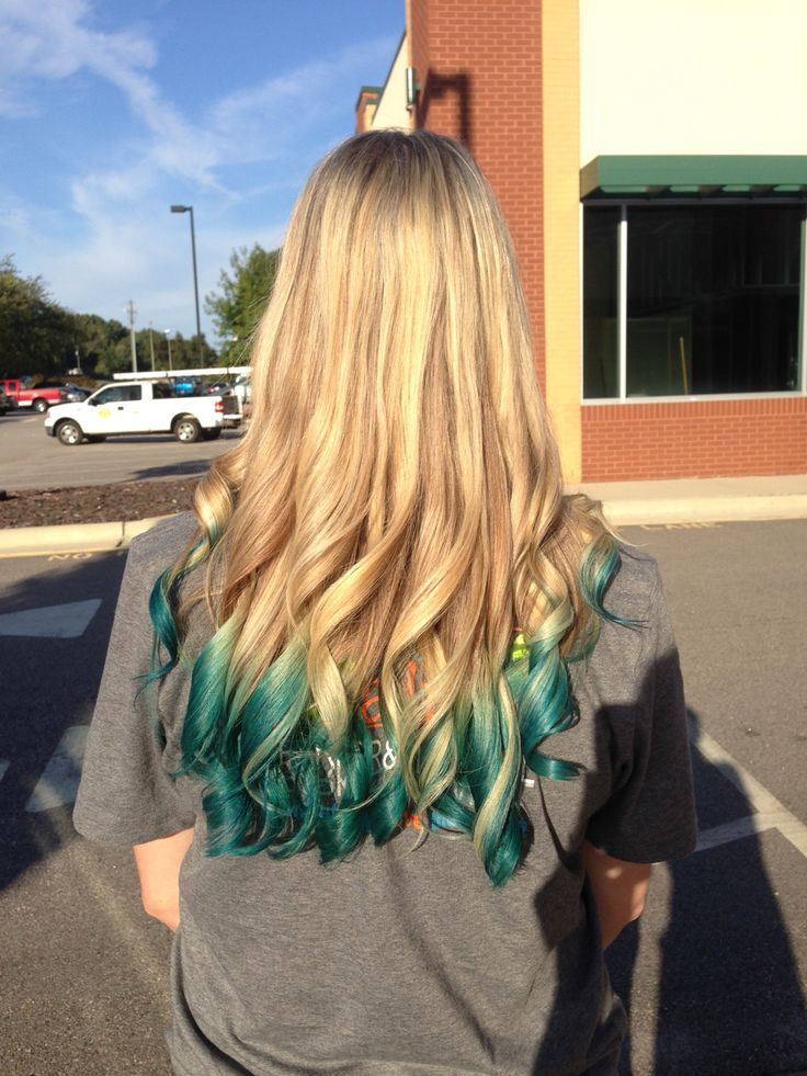 Blonde Hair With Teal Green Ombre Ends Hair Dye Tips Dyed