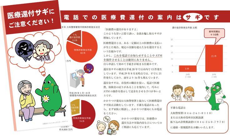 「大和綾瀬薬剤師会/大和警察署 啓発リーフレット」A4 両面 三つ折り 2017年9月