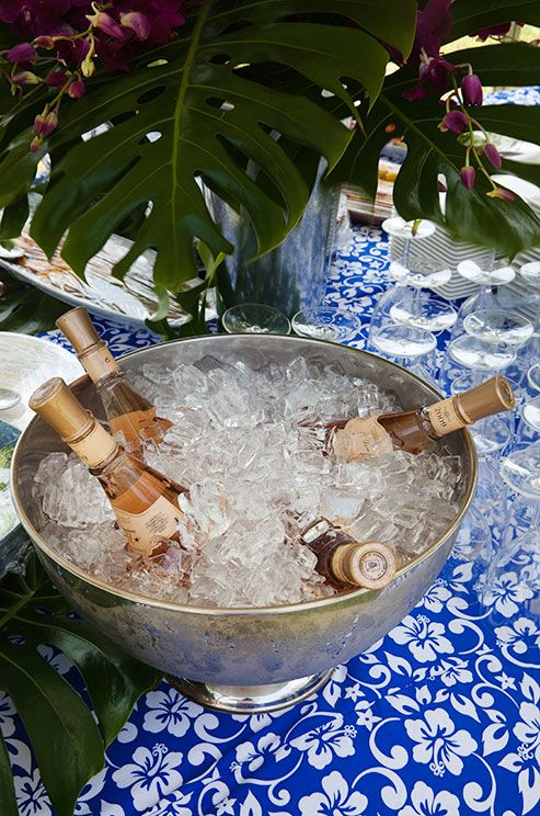 What would a summer celebration be without some rosé? Place multiple bottles in an ice bowl.