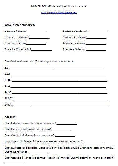 NUMERI DECIMALI esercizi per la quarta classe | Schede di ...