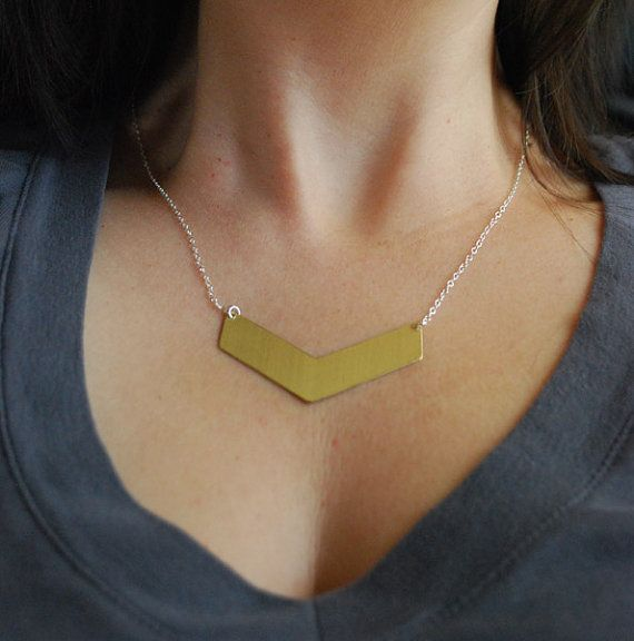 Brass Chevron Necklace Geometric Necklace by paperfacestudio, $30.00: 32 00, Etsy, Chevron Shape, Necklaces Geometric, Chevron Necklaces, Case, Brass Chevron, Dips, Geometric Necklaces