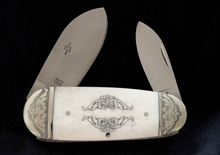Perfect personal heirloom-quality Gift for Fathers Day, Graduation, Wedding, Anniversary, etc.!  This knife is a finely engraved and scrimshawed example of a Victorian style of knife called an elephants toenail or sunfish, these knives were popular beginning in the 1890s and were designed to be a sturdy working knife. This modern example is beautiful, well-made, and ready for a lifetime of service. Great conversation piece!  I buy these quality knives and turn them into heirloom pieces with…