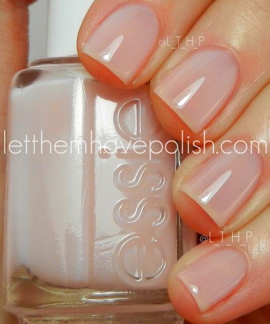 Essie Mademoiselle...not pink, not clear, just perfect! -very sheer but a pretty shade of barely, barely pink. Use 4 coats. It dries super fast and lasts very well.