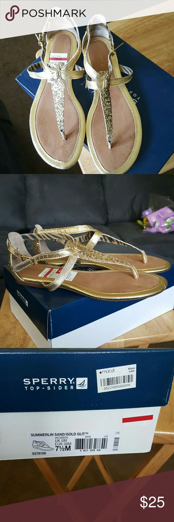 Sperry sandals Brand new in box Gold Sperry sandals Size 7 1/2.  Offers considered Sperry Shoes Sandals