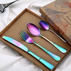 4 Pcs/Set Dinnerware Set 304 Titanium Stainless Steel Western Cutlery Set Kitchen Food Tableware Cheap - NewChic Mobile