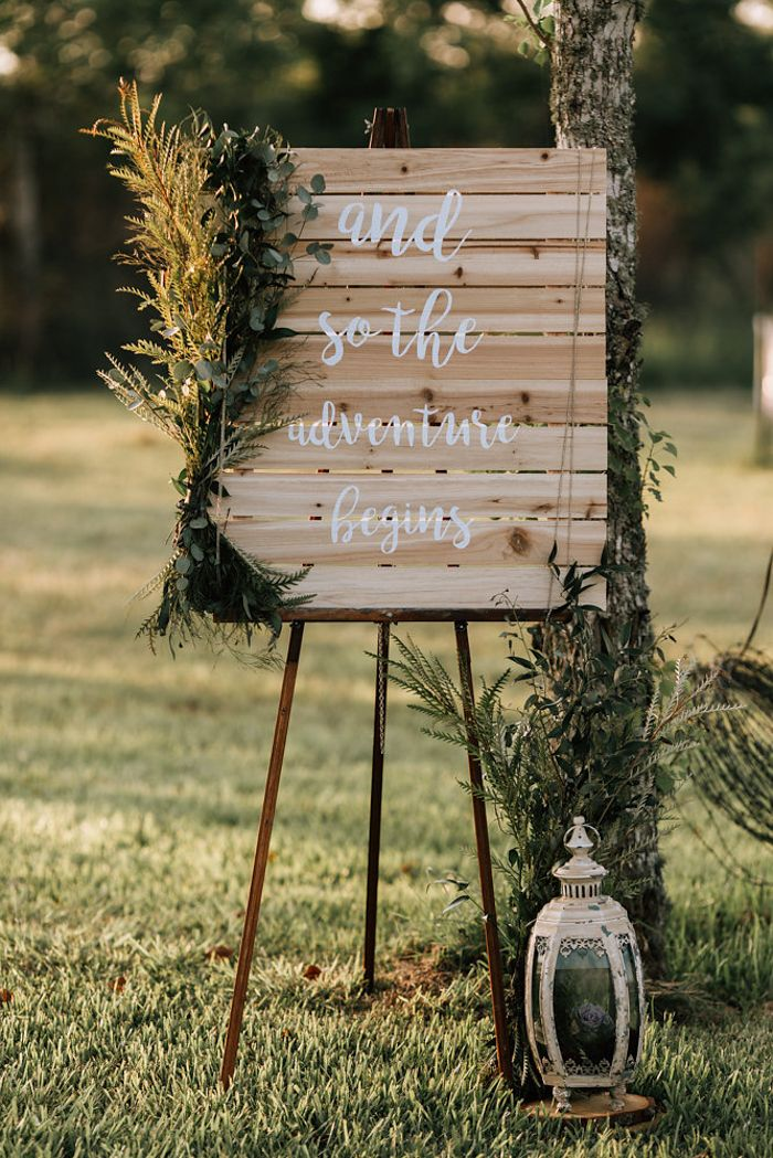 """and so the adventure begins"" wedding signage 