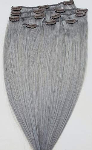 New Hair Faux You 24 Clip Hair Extensions Real Human Hair 100g Clip Full Head 7 pieces, 14 clips, Silky Straight Weft Remy Hair Color # Sterling Silver (Beautiful Silver Gray) online
