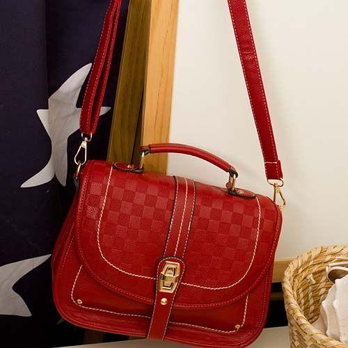 Fashion Hasp Design Solid Red Leather Shoulder Bag
