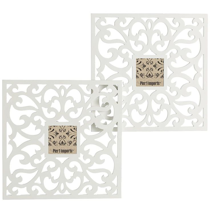 DIY by cutting swirl stencil with paper craft machine on thick cardstock??? | Trellis Wall Frame Set - 4x4 | Pier 1 Imports #Frame #DecorativeFrame