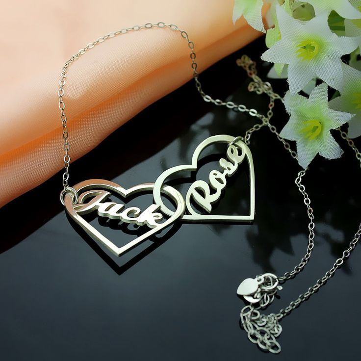 Sterling Silver Double Heart Name Necklace