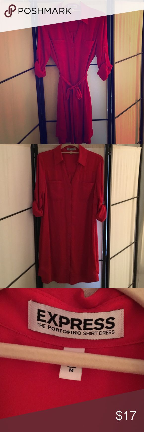 Express Portofino red shirt dress with lining. Never worn. Can be worn w/or without sash. Express Dresses