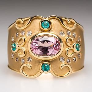 Judy Mayfield Ring w/ Morganite Paraiba Tourmaline & Diamonds in 18K Gold