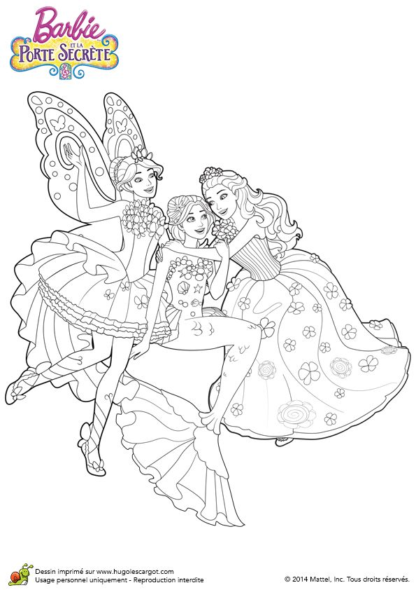 Illustration à colorier de la joyeuse rencontre des Barbies