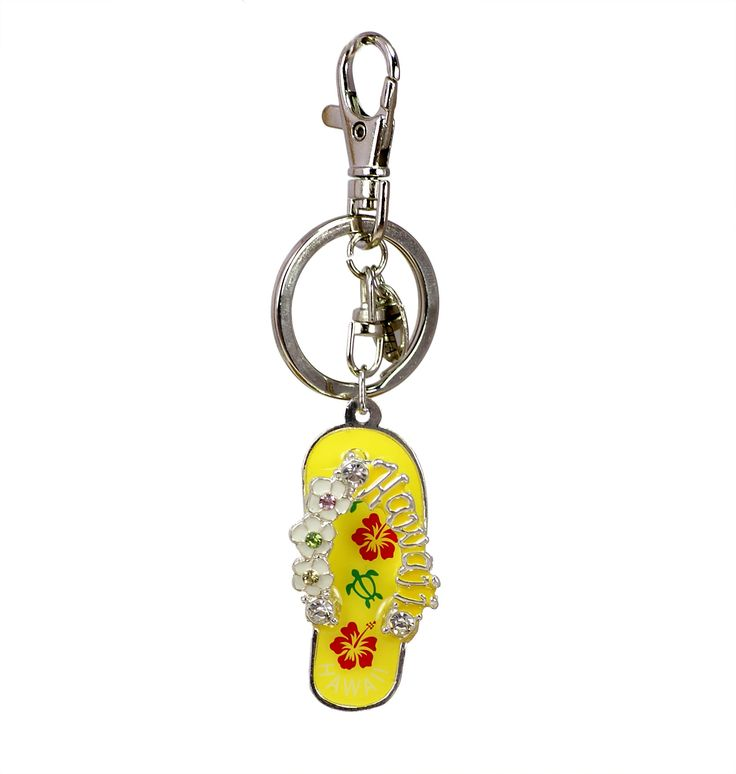 """Hawaiian Flip Flop """"Slippahs"""" Keychain in Yellow"""