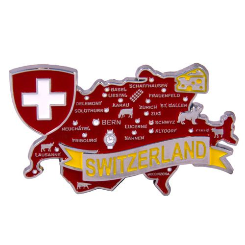 Metal Fridge Magnet: Switzerland. Map of Switzerland (Chrome Plating and Enamel)