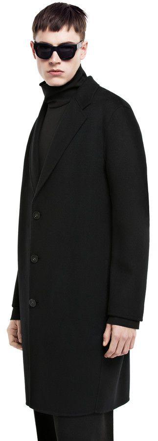 Charles black wool/cashmere blend double weave coat #AcneStudios #menswear #PreFall2014