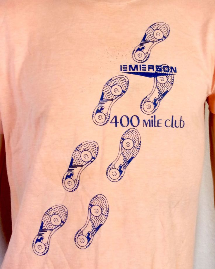 vtg 80s soft Peach Emerson Electric Equipment 400 Mile Club T-Shirt Running M/L