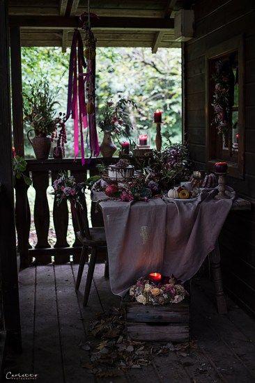 Herbst, violett, pruple decoration, fall, floral deoration, fall decor, cake, Kuchen, floral garland, candle