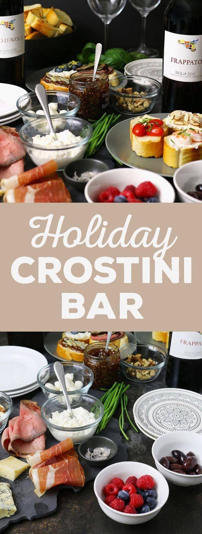 Nehmen Sie in diesem Jahr eine Holiday Crostini-Bar auf allen Urlaubspartys auf! Diese 12 3-Zutaten-Crostini-Rezepte sind leicht zuzubereiten und passen perfekt zu Nero d'Avola- und Frappato-Weinen. | honeyandbirch.com