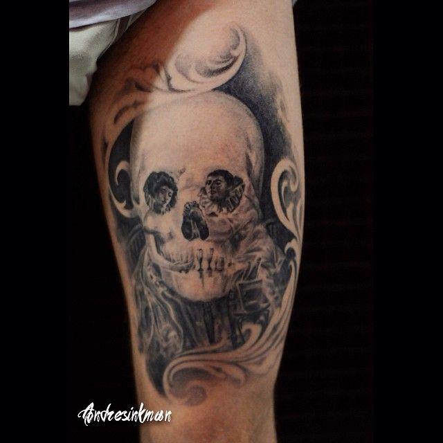 """""""L'amour de Pierrot de Salvador Dali por @andresinkman_mystery #tattoo #tatuaje #ink #tinta #tattooshop #estudiotatuajes #barcelona #tatuador #tattooist…"""""""