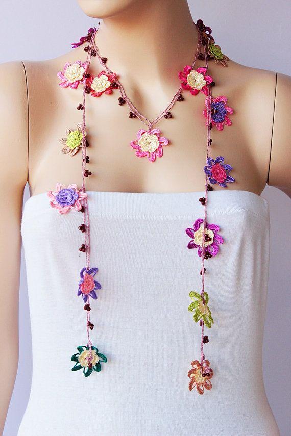 Crochet Strand oya necklace jewelry / Turkish oya necklace/ crochet flower…