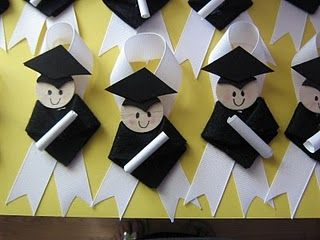 graduation crafts..no how to...but she used black crafty foam and wood circles, easy enough